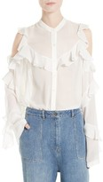 Robert Rodriguez Women's Ruffle Silk Cold Shoulder Blouse