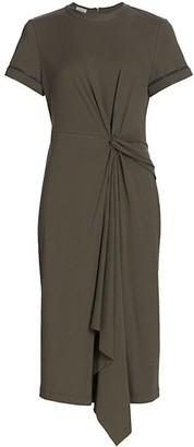 Brunello Cucinelli Knotted Monili-Sleeve Jersey T-Shirt Dress