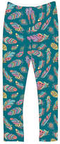 Urban Smalls Blue & Purple Feather Leggings - Toddler & Girls