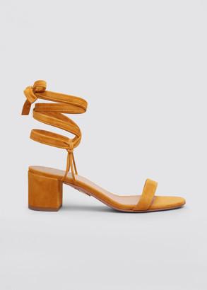 Aquazzura Noha Suede Block-Heel Ankle-Tie Sandals