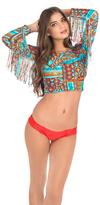 Luli Fama Wild & Free Long Sleeve Crop Top In Multicolor (L456618)