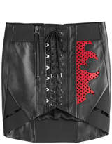 Anthony Vaccarello Lace Front Leather Skirt