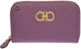 Salvatore Ferragamo Pink Leather Double Gancio Zip-Around Wallet on Chain