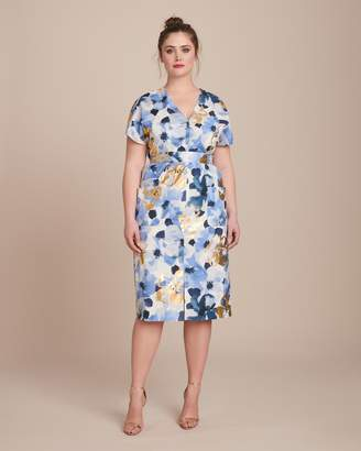 Lela Rose V-Neck Belted Dress