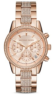 Michael Kors Ritz Crystal Pave Rose Gold-Tone Watch, 37mm