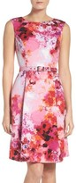 Adrianna Papell Women's Belted Fit & Flare Dress