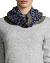 Rosie Sugden Cashmere Leopard-Print Cowl Collar