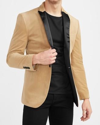 Express Camel Velvet Tuxedo Jacket