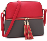 Dasein Black & Red Double-Tassel Crossbody Bag