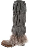 Brunello Cucinelli Leather Fur-Trimmed Ankle Boots w/ Tags