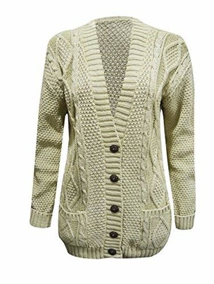 Fashion Valley Women Long Sleeve Chunky Cable Knitted Cardigan Ladies Grandad Button Winter Top Sweater UK Size 20-22 Navy