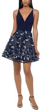 Xscape Evenings Embellished-Skirt Fit & Flare Dress