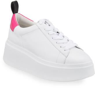 Ash Moon Platform Chunky Sneakers, White/Pink