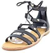 Franco Sarto Baxter Women Open Toe Leather Black Gladiator Sandal.