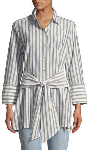 Go Silk Striped Tie-Front Silk-Blend Shirt, Petite