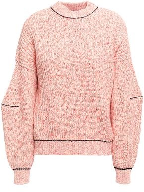Victoria Beckham Melange Ribbed Cotton And Wool-blend Sweater