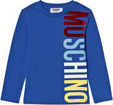 Moschino Blue Branded Long-Sleeved Tee