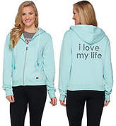 Peace Love World Zip Front Fleece Hoodie withPockets