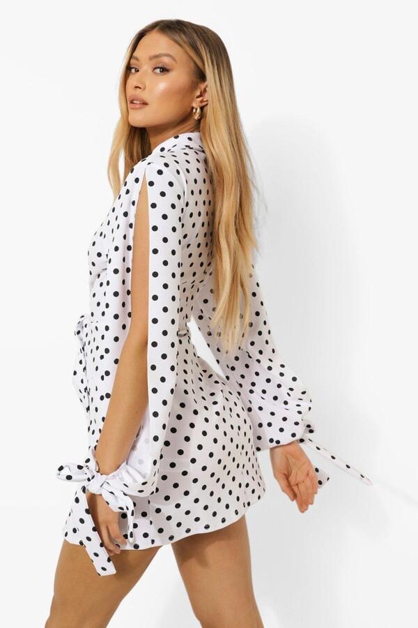 Thumbnail for your product : boohoo Polka Dot Split Sleeve Blazer Dress