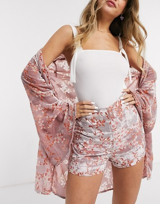 En Creme floral print shorts