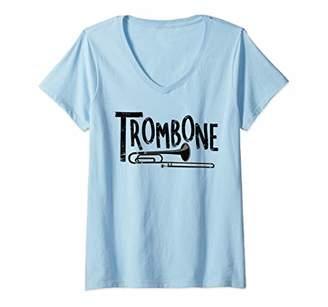 Womens Rough Trombone Text Musical Instrument V-Neck T-Shirt