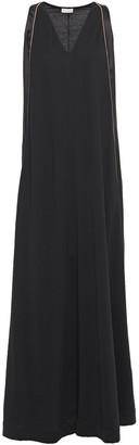 Brunello Cucinelli Satin-paneled Cotton-jersey Maxi Dress