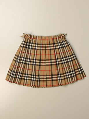 Burberry Pleated Check Skirt