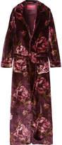 F.R.S For Restless Sleepers - Lelantos Floral-print Velvet Robe - Burgundy