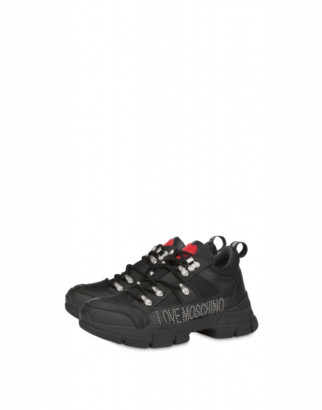 Love Moschino Trekking Sneakers With Studded Logo Woman Black Size 36 It - (6 Us)