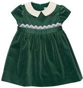 Florence Eiseman Cap-Sleeve Collared Velvet Dress, Green, Size 2-6X