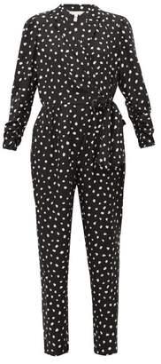 Rebecca Taylor Dot-print Wrap-around Silk-blend Jacquard Jumpsuit - Womens - Black White