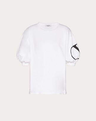 Valentino Jersey T-shirt With Vlogo Signature Print Women Optic White/black Cotton 100% M