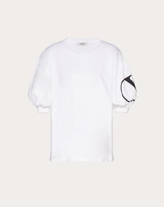 Valentino Vlogo Print Jersey T-shirt Women Optic White/black Cotton 100% M