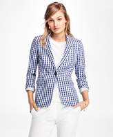 Brooks Brothers Gingham Stretch-Cotton One-Button Blazer