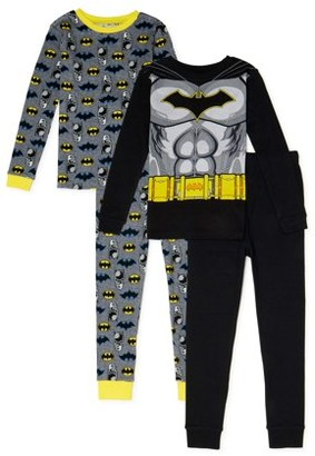 Batman Boys Cotton Long Sleeve, Long Pants, 4-Piece Pajama Set Sizes 4-10