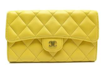 Chanel Timeless/Classique Yellow Leather Wallets