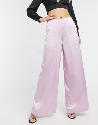 UNIQUE21 satin wide leg trousers in light pink