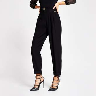 River Island Womens Black high buckle wasited peg leg trousers