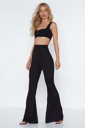 Nasty Gal Womens Square Neckline Crop Top And High-Waisted Pants - Black