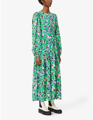 NEVER FULLY DRESSED Delilah floral-print stretch-woven maxi dress