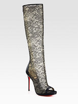 Christian Louboutin Alta Lace and Satin Knee-High Boots