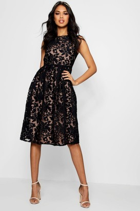 boohoo Boutique Embroidered Organza Skater Dress