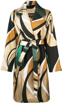 Rochas printed belted coat