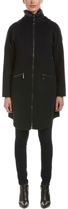 Dawn Levy Women's Parker Wool Coat with Removable Down Vest XL Abyss