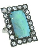 Cathy Waterman Boulder Opal Lace Edge Ring with Diamonds - Platinum