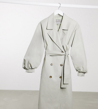 Asos DESIGN Maternity extreme balloon sleeve trench coat in sage