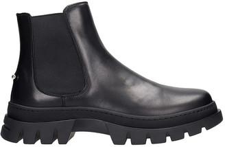 Neil Barrett Pierced Punk Ankle Boots In Black Leather