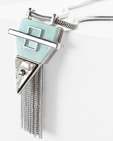 White House Black Market Abalone Angular Fringe Pendant Necklace
