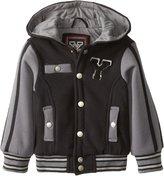 YMI Jeanswear Baby Boys' Fleece Hooded Varsity Jacket with Contrast Jersey Lining