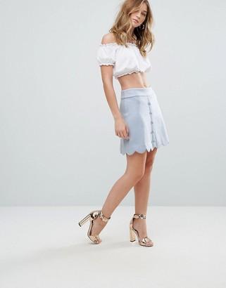 Traffic People Scallop Edge Mini Skirt-Blue